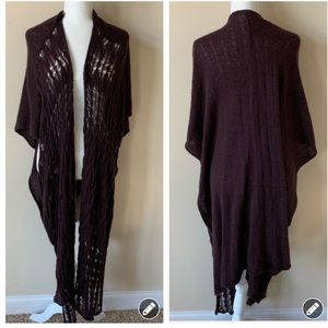 Free People brown open knit poncho duster #1732